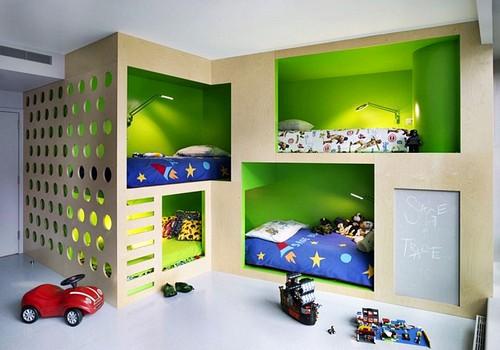 Desain warna hijau untuk kamar anak-anak