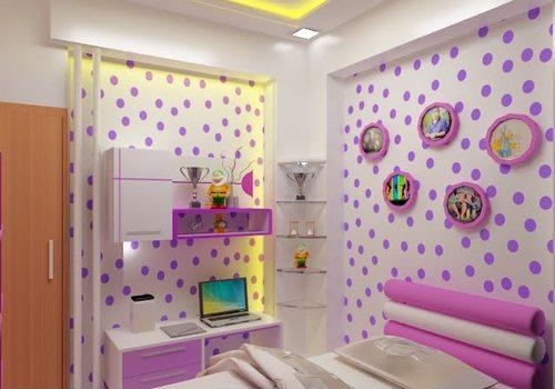 Desain warna ungu kamar anak-anak